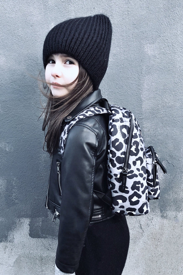 Mini Elwood Kids Backpack Black / Grey Leopard Print