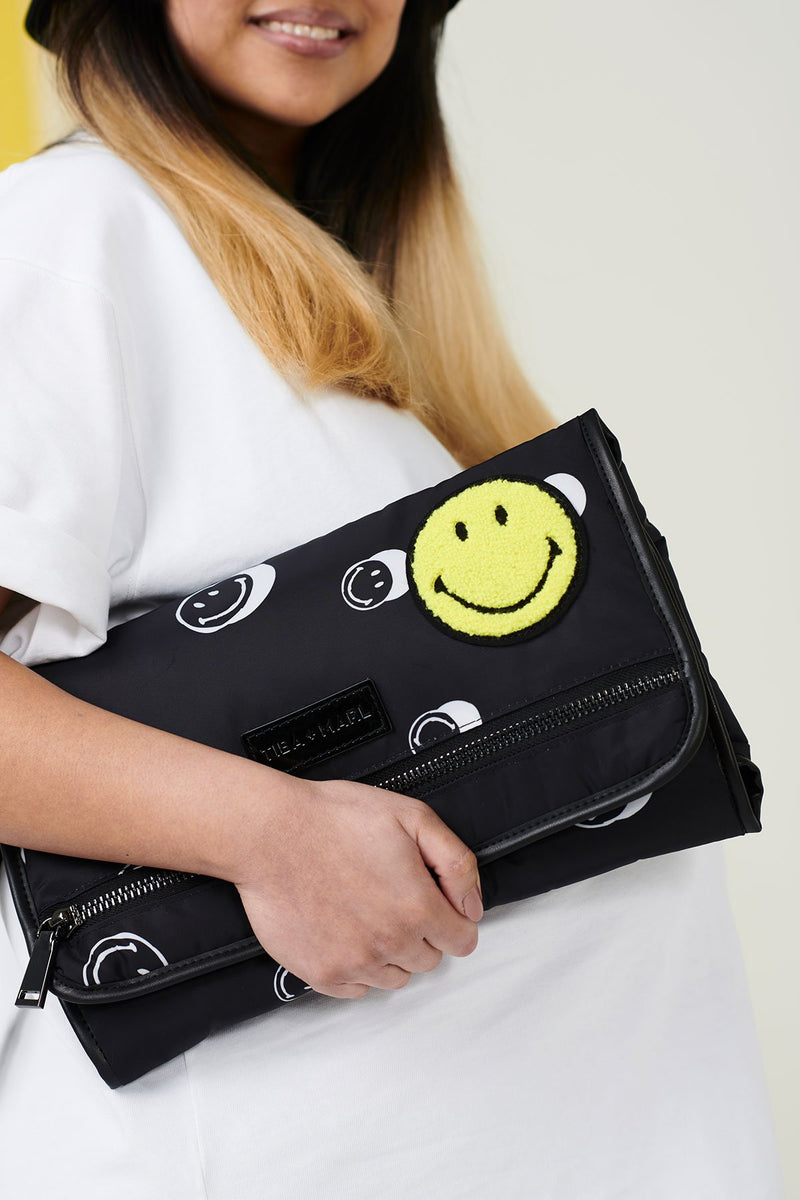 Tiba + Marl x Smiley® Etta Changing Clutch Black Smiley® Print