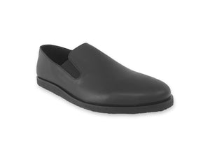 mens black leather slip ons