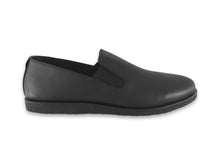 Load image into Gallery viewer, mens black leather slip ons