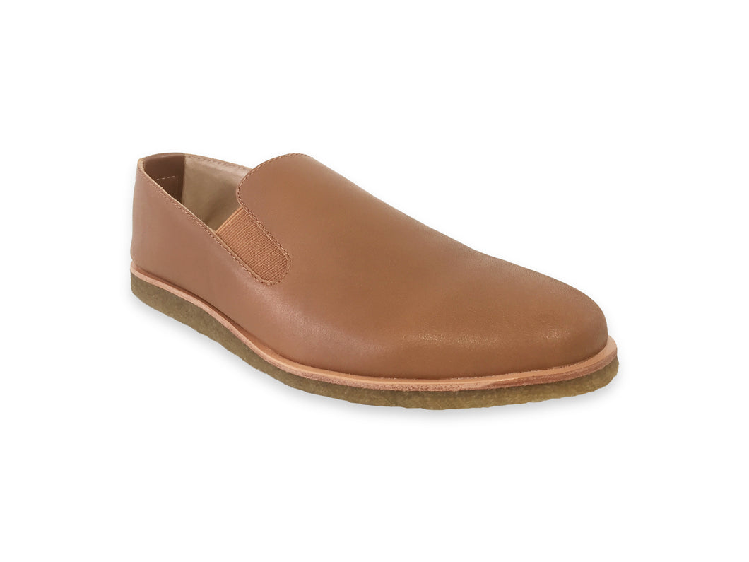 brown leather slip ons