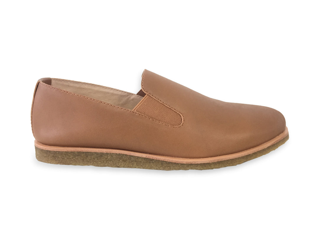 mens brown leather slip ons