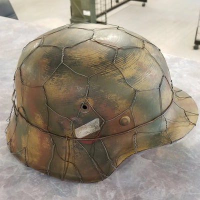 WW2 German Wehrmacht Helmet - Double Decal - Full Chicken Wire Basket - Normandy Colors
