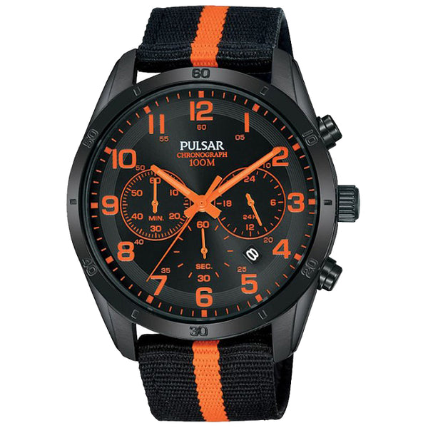 Montre PULSAR Sport PT3965X1 Nato nylon noir et orange