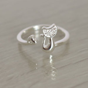 Diamante Tail Twist Ring - Adjustable - Silver