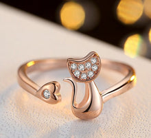 Load image into Gallery viewer, Diamante Tail Twist Ring - Adjustable - Rose Gold