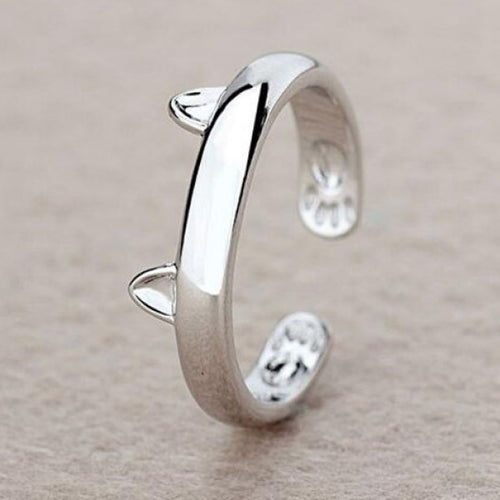 Cat Ears - Silver Ring - Adjustable