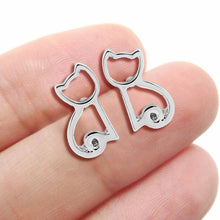Load image into Gallery viewer, Cat Outline - Silver Earrings