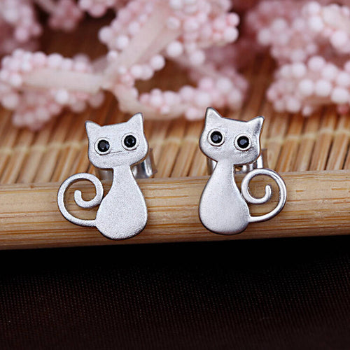Solid Fill Cat - Silver Earrings