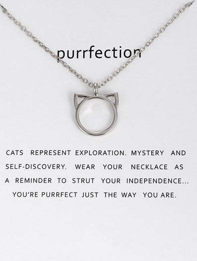 Cat Head Outline Necklace - Silver
