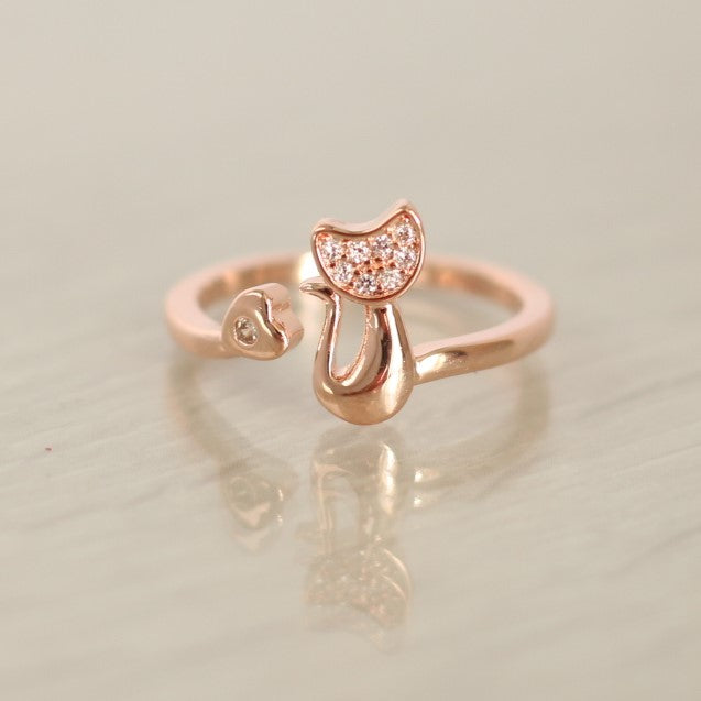 Diamante Tail Twist Ring - Adjustable - Rose Gold