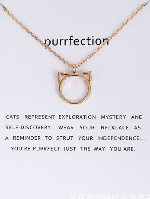 Cat Head Outline Necklace - Gold
