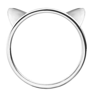 3D Cat Ears - Silver Ring