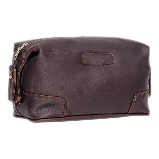 Brown Soft Leather Wash Bag with Single Zip Opening and Stud Closure
