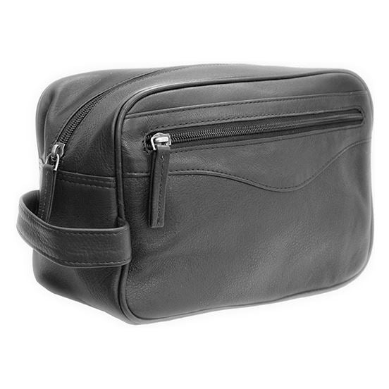 Black Leather Wash Bag with Waterproof Lining & Carry Handle