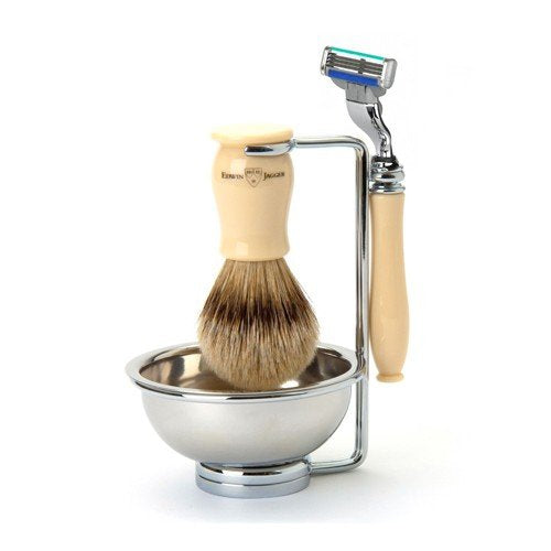 Chatsworth Ivory Mach3 Turbo Compatible Razor, Silvertip Badger Shaving Brush & Stand with Bowl