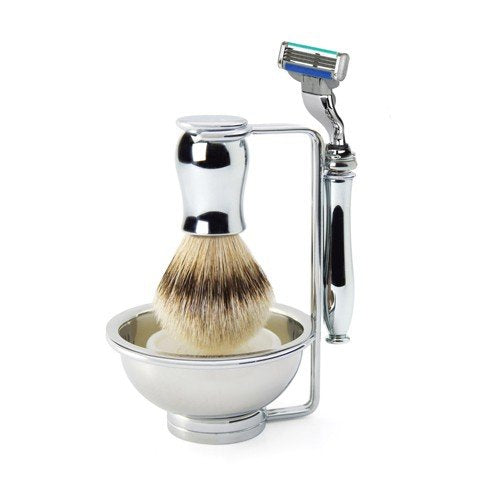 Chatsworth Plain Chrome Mach3 Turbo Compatible Razor, Silvertip Badger Shaving Brush & Stand with Bo
