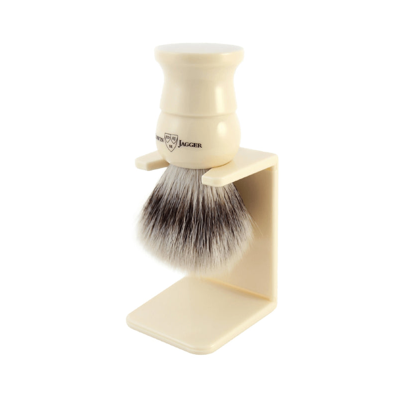 English Shaving Brush Imitation Ivory Small Synthetic Silvertip with Drip Stand