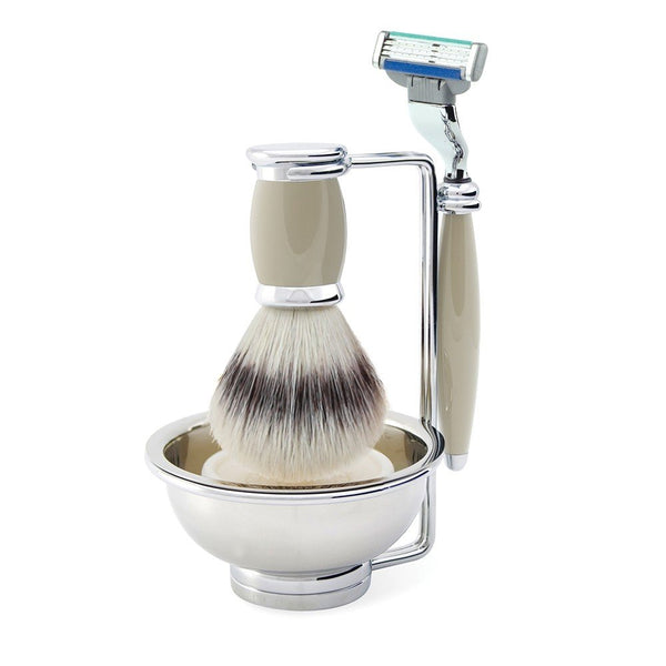 Bulbous Grey Mach3 Turbo Compatible Razor, Synthetic Silvertip Shaving Brush & Stand with Bowl