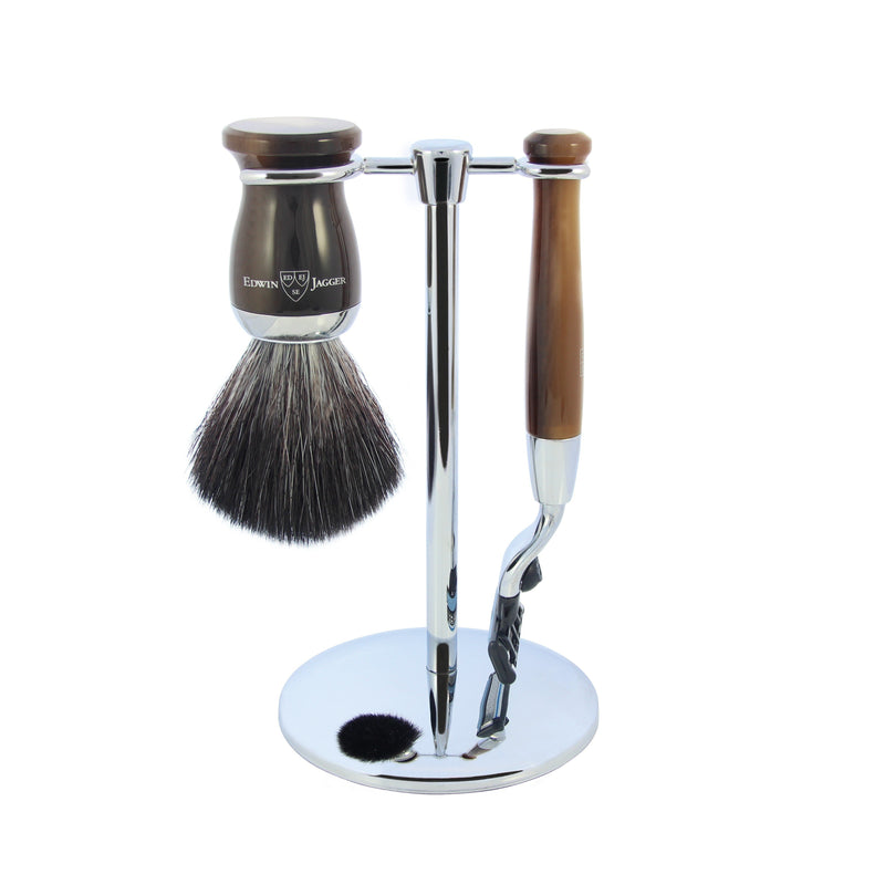Diffusion 36 Light Horn Double Edge Safety Razor, Synthetic Shaving Brush & Stand