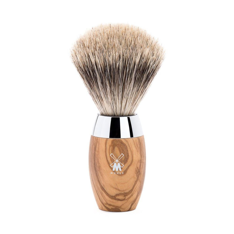 Kosmo Olive Wood Fine Badger Shaving Brush - Mühle - Face & Co