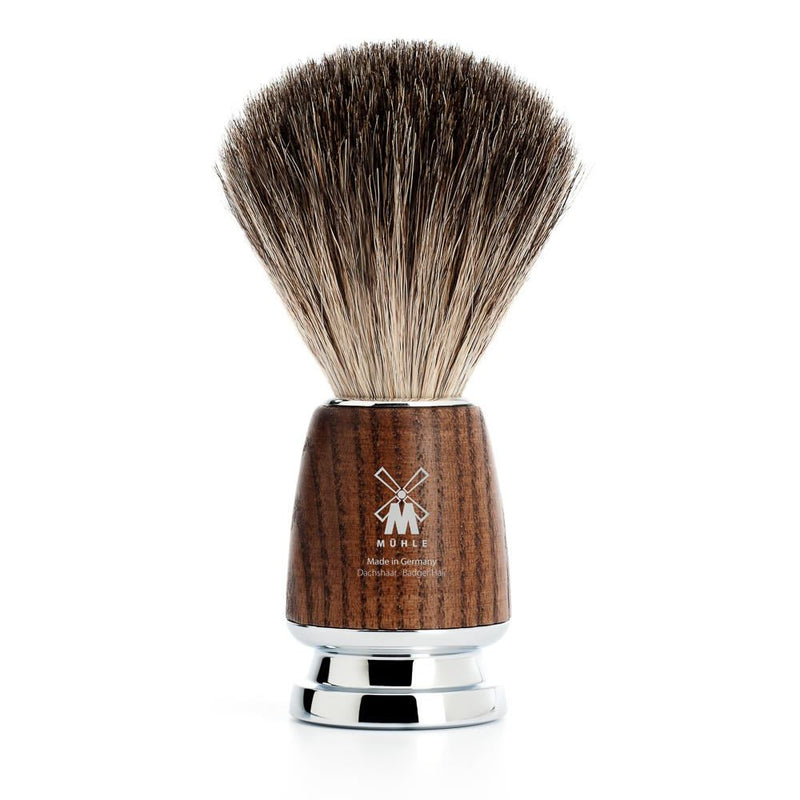 Rytmo Steamed Ash Pure Badger Shaving Brush - Mühle - Face & Co
