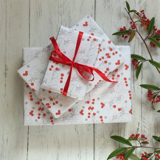Acorn and berries wrapping paper