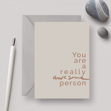 Awesome Person A6 greeting card with grey envelope