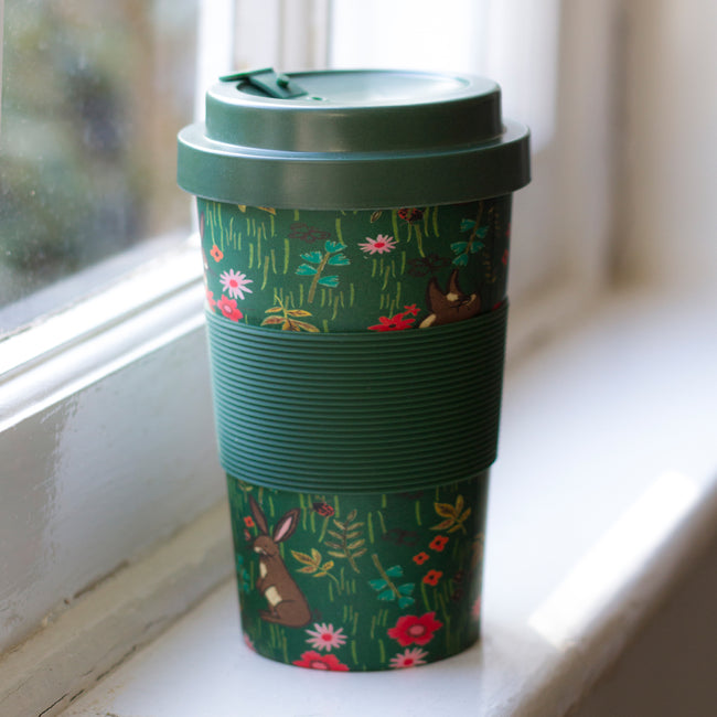 Botanical Bunnies bamboo travel mug