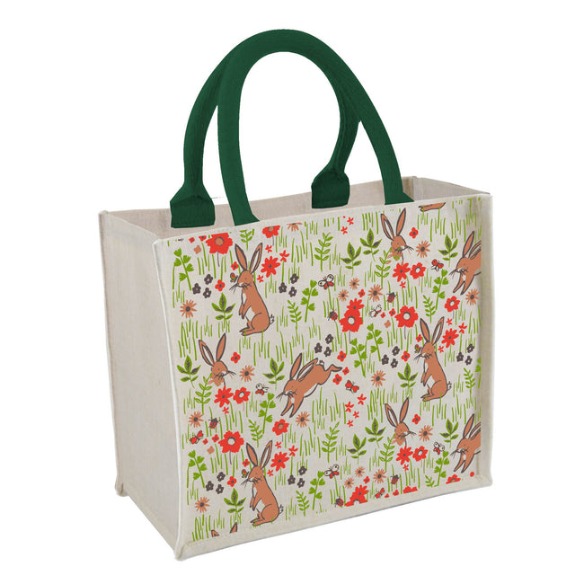 Botanical bunnies pattern mini juco shopping bag