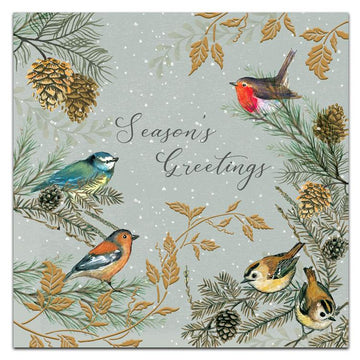 Birds in branches - pack of 10 Christmas cards with envelopes