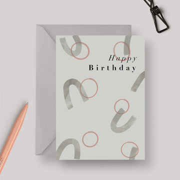Happy Birthday Circles Abstract A6 greeting card with grey envelope