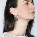 Black Disc And Brass Bar Earrings