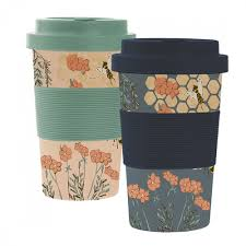 Botanical Bees bamboo travel mug