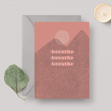 Breathe A6 greeting card with grey envelope