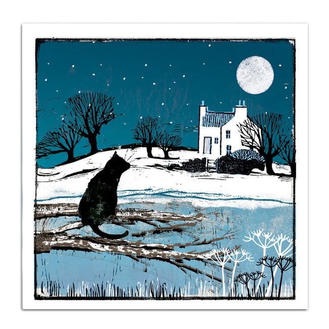 Cat and cottage - pack of 10 Christmas cards with envelopes
