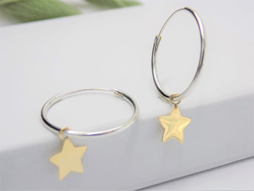 Silver Hoops With Gold Star Earrings
