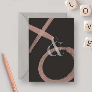 Kisses & Hugs A6 greeting card with grey envelope