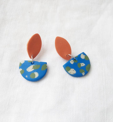 Terracotta Blue Earrings