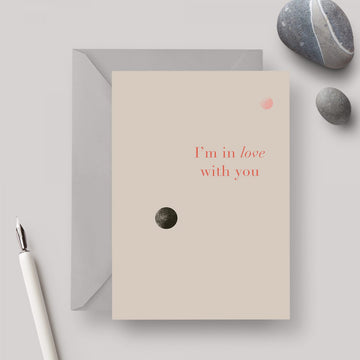 In Love A6 greeting card with grey envelope