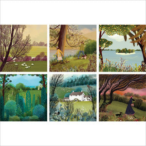 Illustrated landscapes set of 6 greeting cards