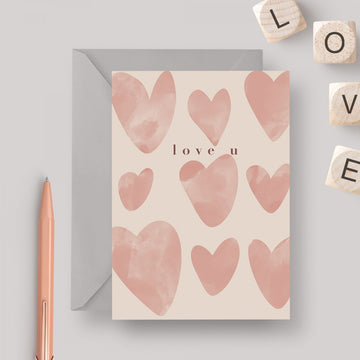 Love You A6 greeting card with grey envelope