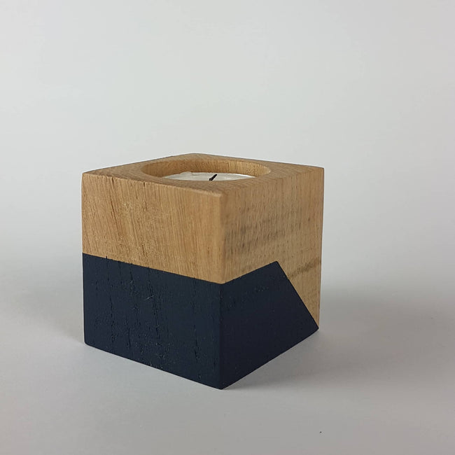 Oak wood candle cube - small