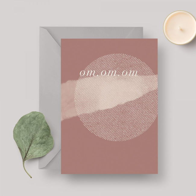 Om A6 greeting card with grey envelope