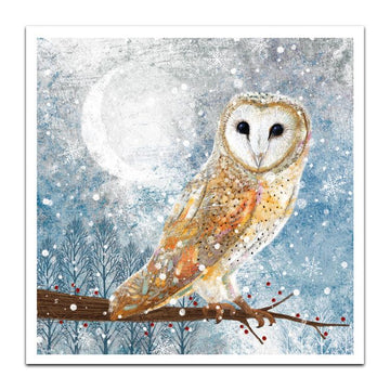 Owl - Welsh/English bilingual - pack of 10 Christmas cards with envelopes