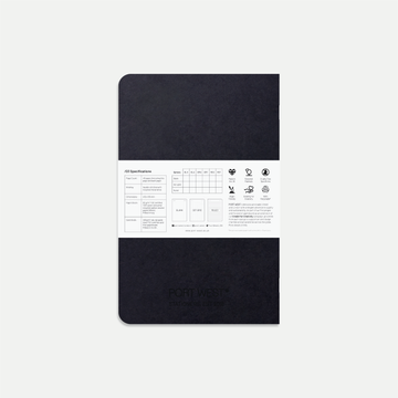 Port West A5 Notebook (Black) – FSC Recycled Paper, Vegan-friendly Natural Dyes, Made in the UK