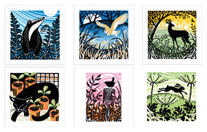 Contemporary set of 6 greeting cards