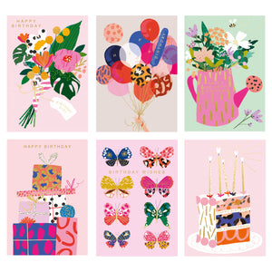 Birthday brights set of 6 greeting cards