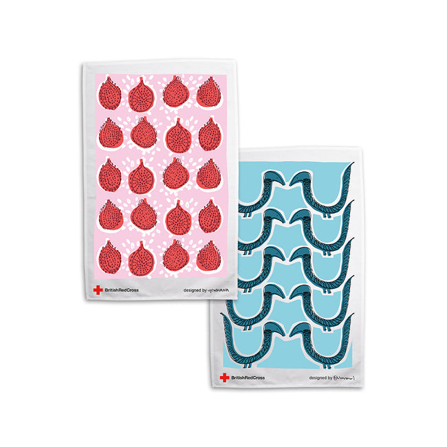 Organic cotton 'duck' and 'pomegranate' tea towels - pack of 2