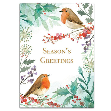 Robins with foliage - pack of 10 Christmas cards with envelopes